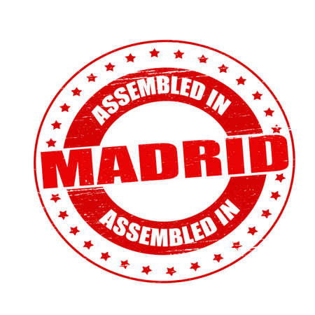 erect: Stamp with text assembled in Madrid inside, illustration