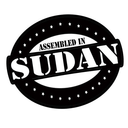 Stamp with text assembled in Sudan inside