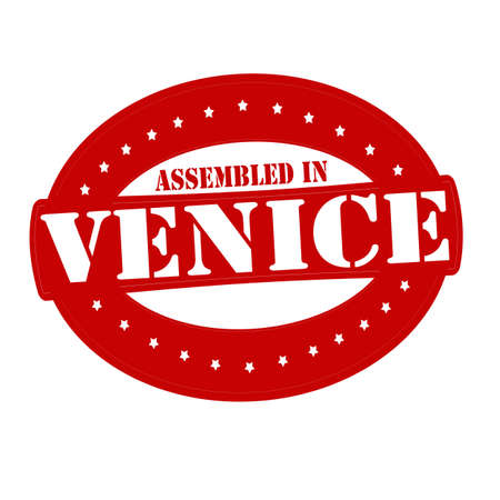 erect: Stamp with text assembled in Venice inside