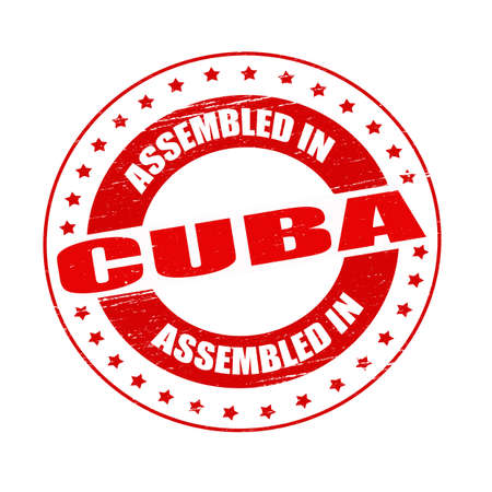 Stamp with text assembled in Cuba inside
