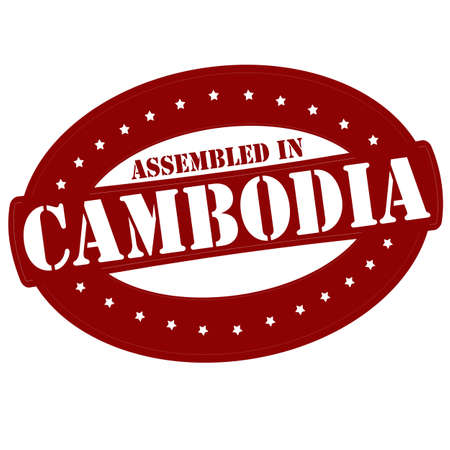 erect: Stamp with text assembled in Cambodia inside