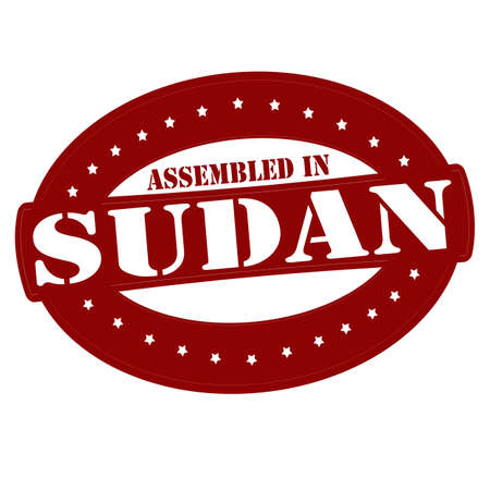 sudan: Stamp with text assembled in Sudan inside