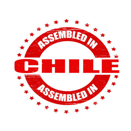 Stamp with text assembled in Chile inside