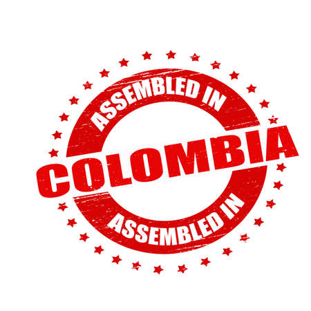 Stamp with text assembled in Colombia inside