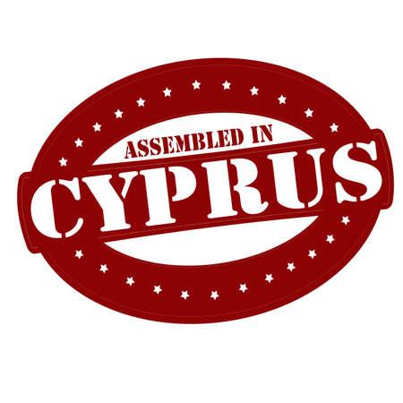 Stamp with text assembled in Cyprus inside Ilustração