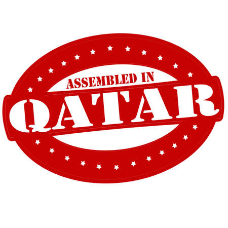 Stamp with text assembled in Qatar inside
