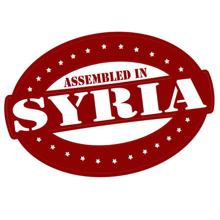 Stamp with text assembled in Syria inside