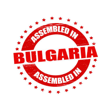 Stamp with text assembled in Bulgaria inside  Illustration