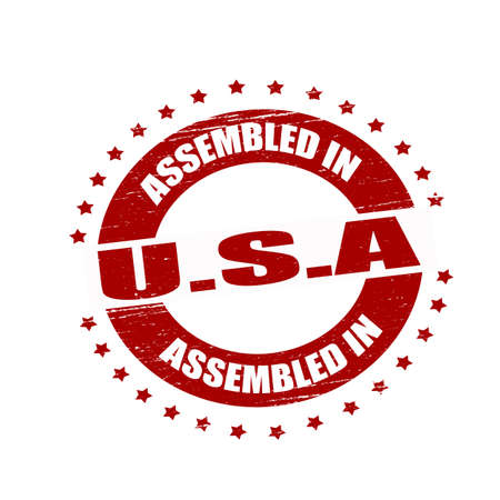 assembled: Stamp with text assembled in USA inside Illustration