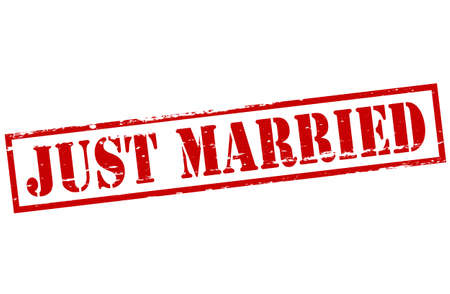 precisely: Stamp with text just married inside, vector illustration