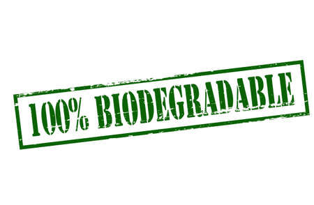 biodegradable: Stamp with text one hundred percent biodegradable inside, vector illustration Illustration