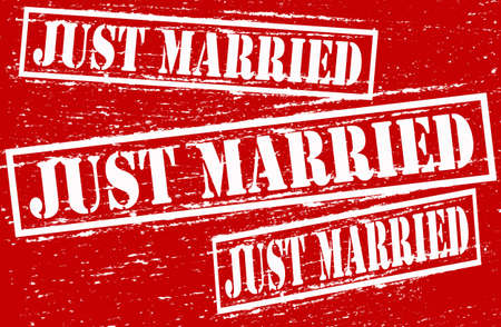 precisely: Set of stamps with text just married inside, vector illustration Illustration