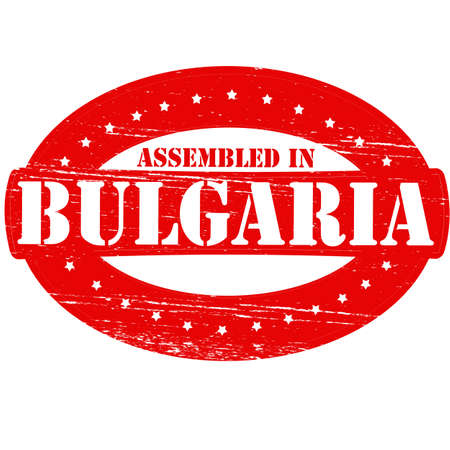erect: Rubber stamp with text assembled in Bulgaria inside, vector illustration