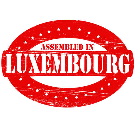 Rubber stamp with text assembled in Luxembourg inside, vector illustration