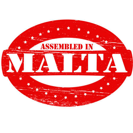 erect: Rubber stamp with text assembled in Malta inside, vector illustration
