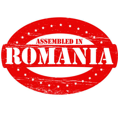 erect: Rubber stamp with text assembled in Romania inside, vector illustration