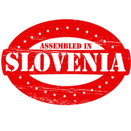 Rubber stamp with text assembled in Slovenia inside, vector illustration