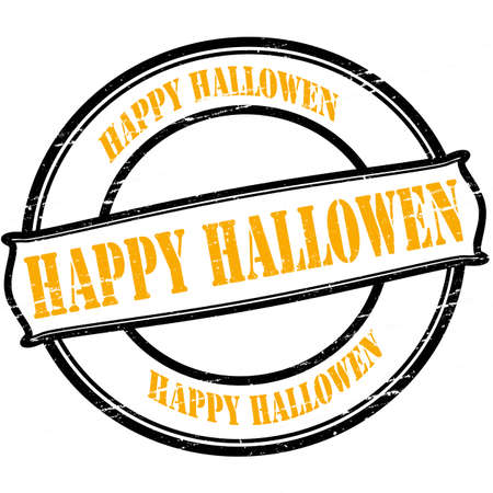 fortunate: Rubber stamp with text Happy Hallowen inside, vector illustration