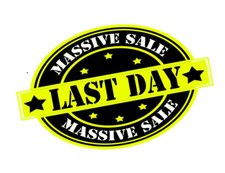 last day: Rubber stamp with text massive sale inside, vector illustration