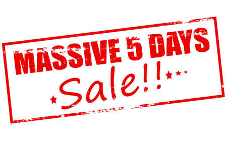 big five: Rubber stamp with text massive five days sale inside, vector illustration