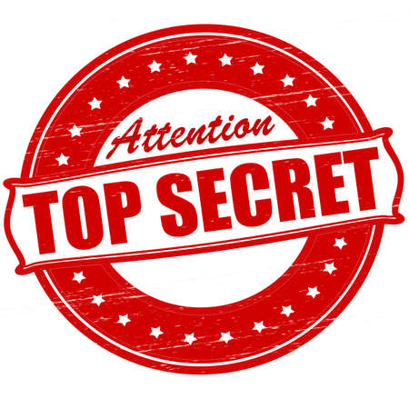 Stamp with text top secret inside, vector illustration