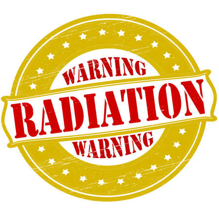monition: Stamp with text warning radiation inside, vector illustration