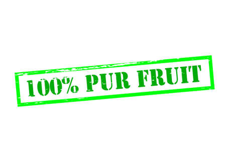 Rubber stamp with text one hundred percent pur fruit inside, vector illustration