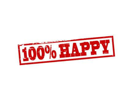 blithe: Sello de goma con el texto de un cien por ciento feliz por dentro