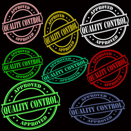 Rubber stamps with text quality control inside Illustration