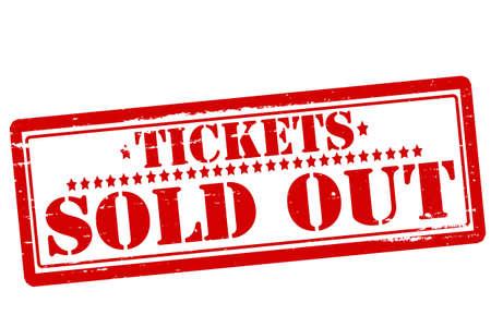 Rubberen stempel met de tekst tickets uitverkocht binnen illustratie