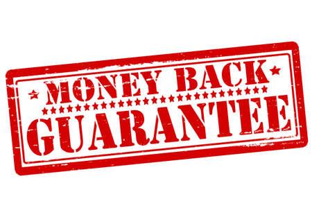 backwards: Stempels met de tekst geld terug binnen illustratie