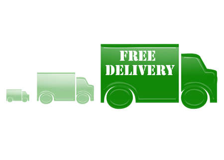 gratis: Green cars with text free delivery
