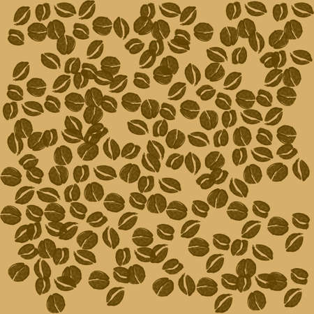 Isolated coffee beans on brown background Vector