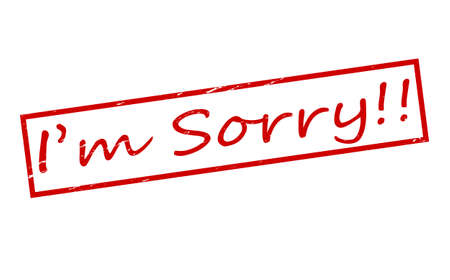i am sorry: Rubber stamps with text i am sorry inside illustration