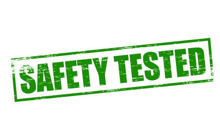 certainty: Rubber stamps with text safety tested inside, vector illustration Illustration