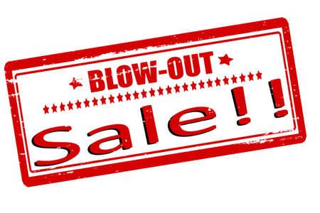blow out: Timbri con testo vendita saltano fuori dentro, illustrazione vettoriale Vettoriali