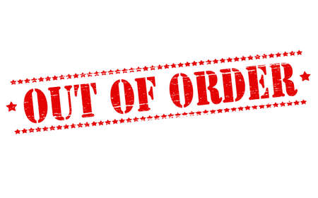out of order: Rubber stamps with text out of order inside, vector illustration