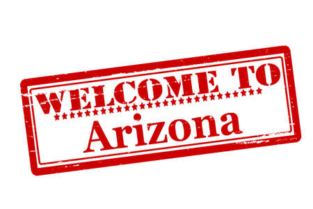 acclaim: Rubber stamps with text welcome to Arizona inside, vector illustration