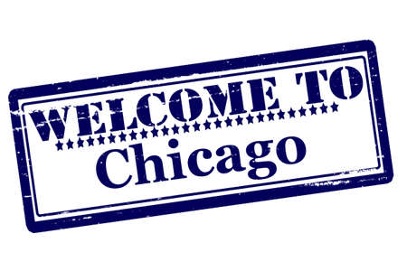 acclaim: Rubber stamps with text welcome to Chicago inside, vector illustration