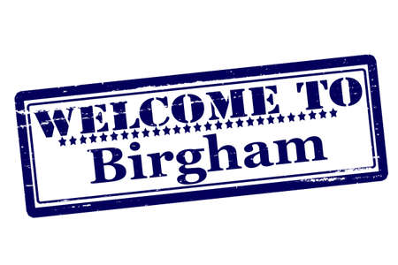 and acclaim: Rubber stamps with text welcome to Birgham inside, vector illustration