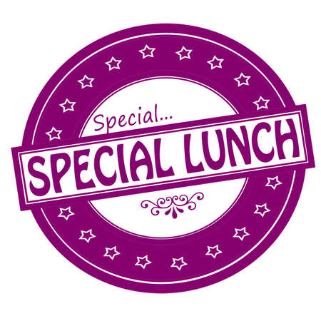 noontime: Rubber stamps with text special lunch inside, vector illustration