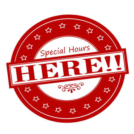 especial: Rubber stamps with text special hours inside, vector illustration