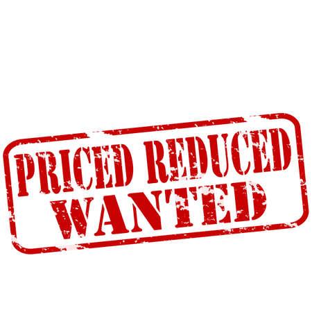 reduced value: Sellos de goma con el texto de precio reducido quer�an interior, ilustraci�n vectorial