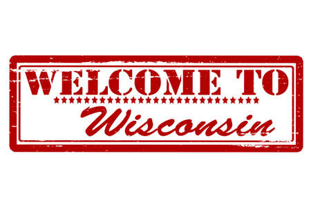 Rubber stamps with text welcome to Wisconsin inside, vector illustration Vector
