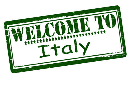acclaim: Rubber stamps with text welcome to Italy inside, vector illustration