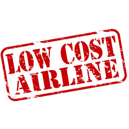 reduced value: Rubber stamps with text low cost airline inside, vector illustration
