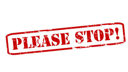 stoppage: Rubber stamps with text please stop inside, vector illustration