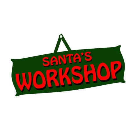 workshop: Rubber stamps with text santa workshop inside, vector illustration Illustration