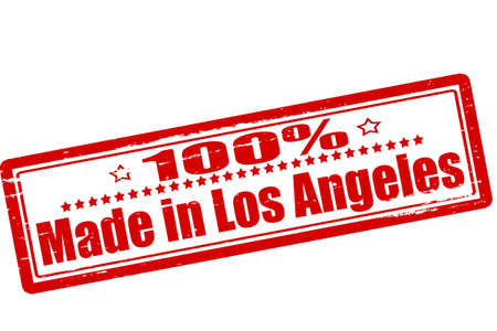 los angeles: Stempel mit Text hundert Prozent in Los Angeles im Inneren, Vektor-Illustration gemacht