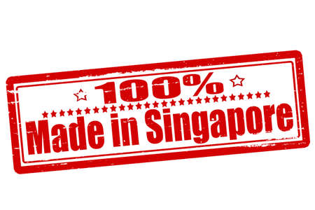 Rubber stamps with text one hundred percent made in Singapore inside, vector illustration Vector